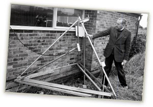 Roy Snelling with stolen satellite